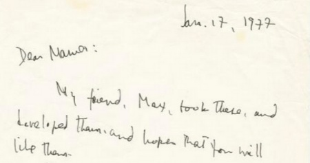 Clip of handwritten letter (Baldwin to mother, 1/17/1977)